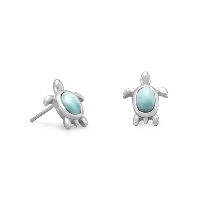 Larimar Gemstone Turtle Sterling Silver Stud Earrings - deelytes-com