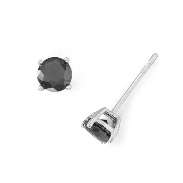Black CZ Sterling Silver Stud Earrings - deelytes-com