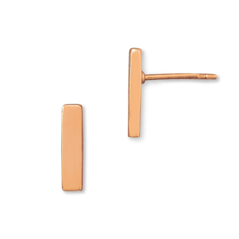 14 Karat Rose Gold Bar Stud Earrings - deelytes-com