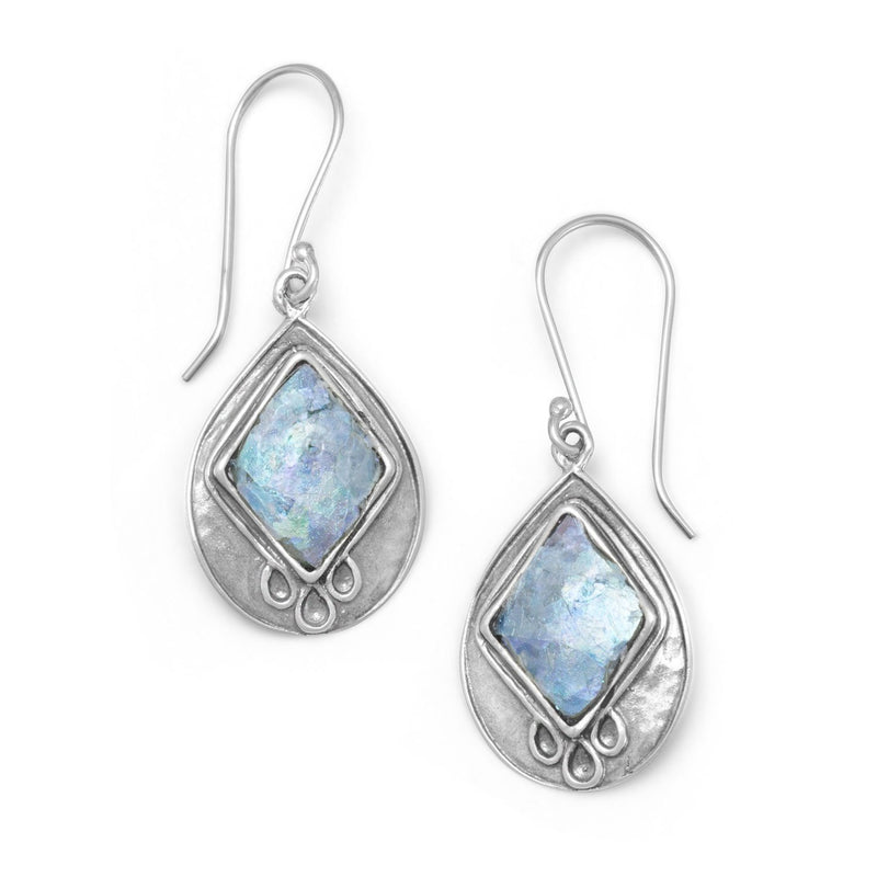 Pear Shape Ancient Roman Glass Textured Sterling Silver Earrings - deelytes-com