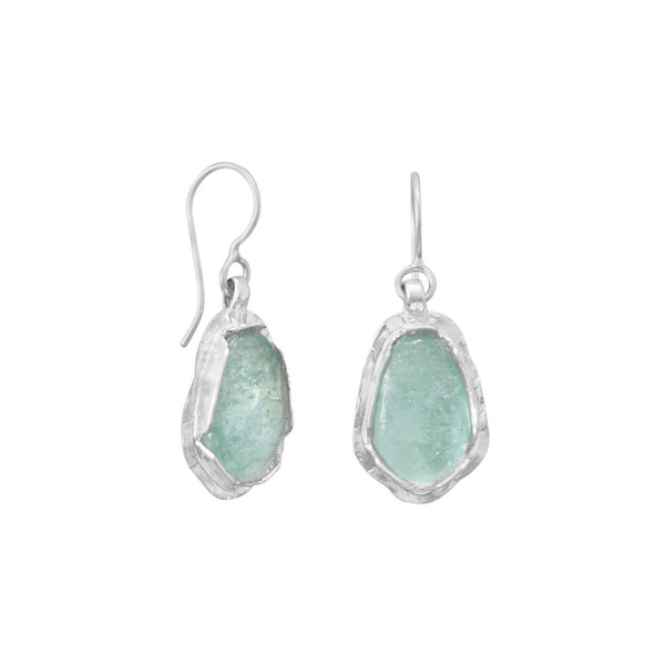 Polished Pear Ancient Roman Glass Sterling Silver Drop Earrings - deelytes-com