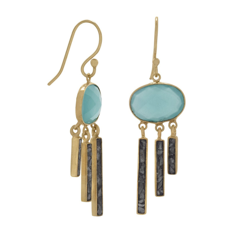 Gold Glass and Diamond Chip Drop Earrings - deelytes-com