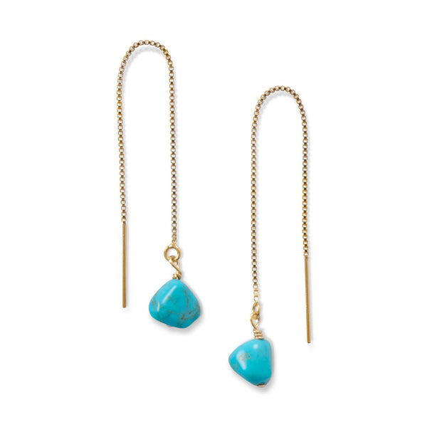 Turquoise Bead Threader Earrings - deelytes-com