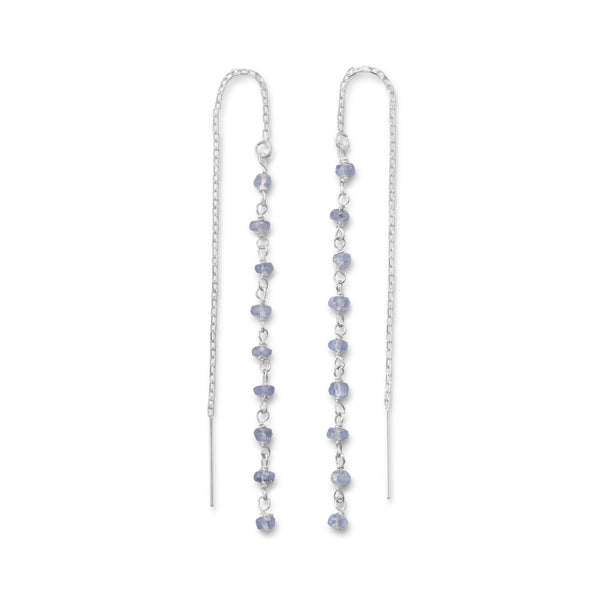 Tanzanite Bead Sterling Silver Threader Earrings - deelytes-com