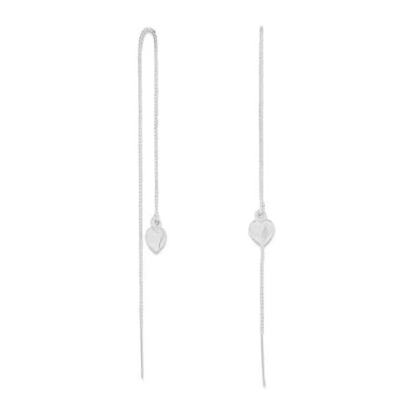 Heart Sterling Silver Threader Earrings - deelytes-com