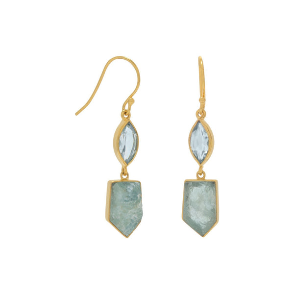 14 Karat Gold Blue Topaz and Aquamarine Gemstone Drop Earrings - deelytes-com