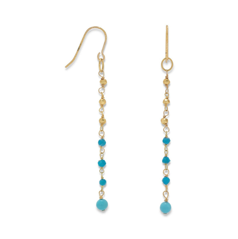 Gold French Wire Earrings with Turquoise Beads - deelytes-com
