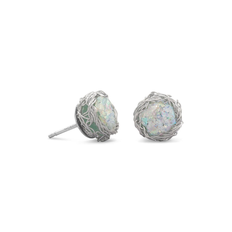 Ancient Roman Glass with Woven Wire Mesh Sterling Silver Stud Earrings - deelytes-com