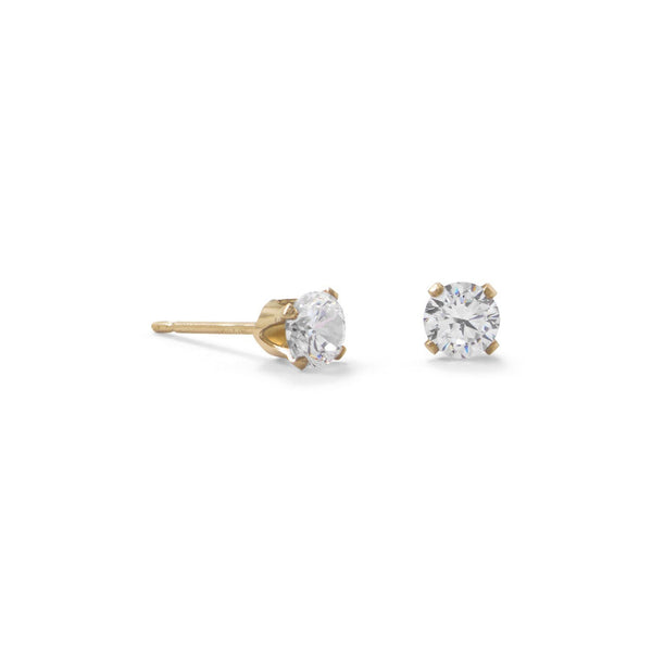 Gold 4mm CZ Stud Earrings - deelytes-com