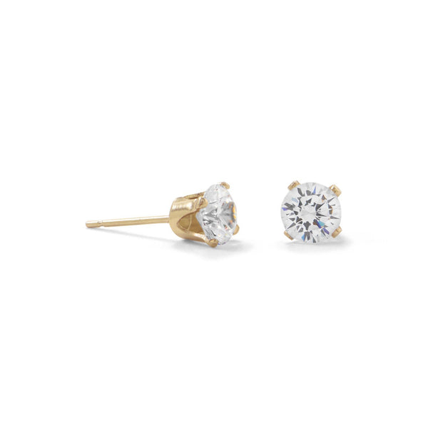 Gold 5mm CZ Stud Earrings - deelytes-com