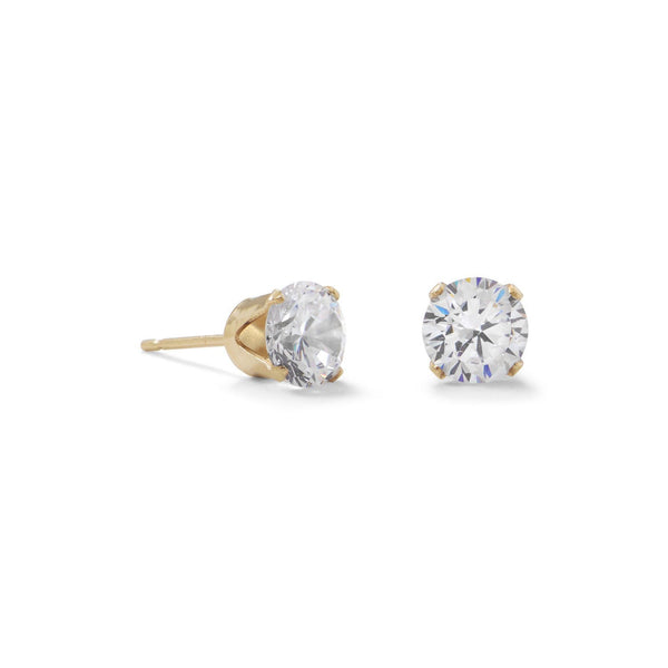Gold 6mm CZ Stud Earrings - deelytes-com