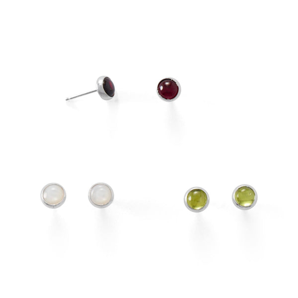 Set of 3 Sterling Silver Peridot, Mother of Pearl, Garnet Button Stud Earrings - deelytes-com