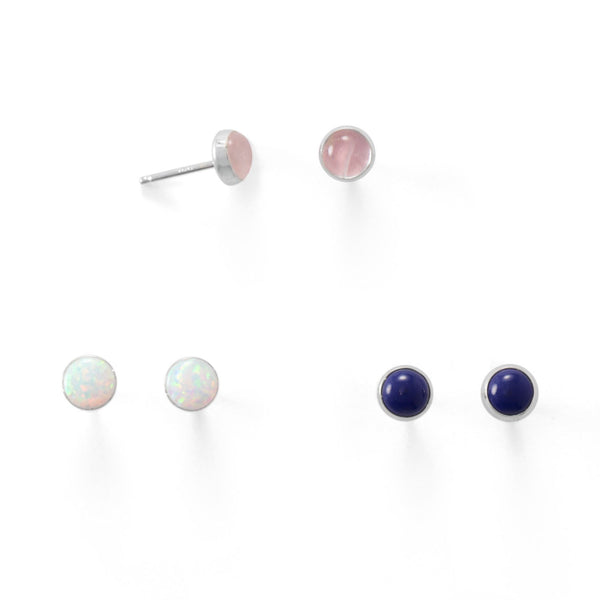 Set of 3 Sterling Silver White Opal, Lapis, Rose Quartz Button Stud Earrings - deelytes-com