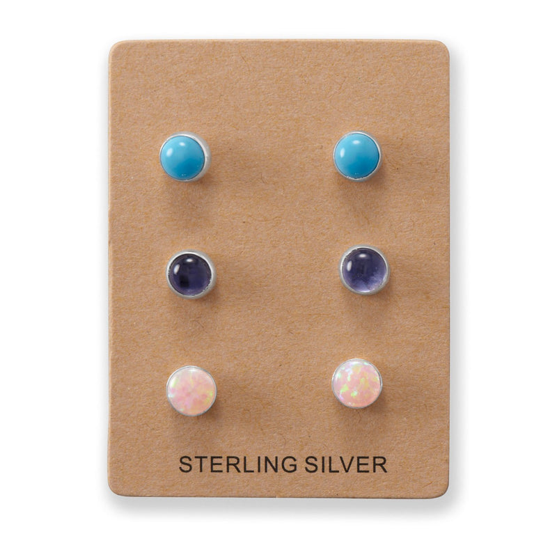 Set of 3 Sterling Silver Pink Opal, Turquoise, and Iolite Button Studs - deelytes-com