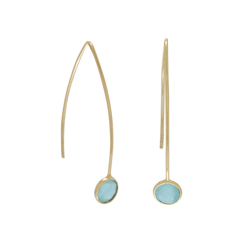 Gold Green Hydro Glass Wire Earrings - deelytes-com