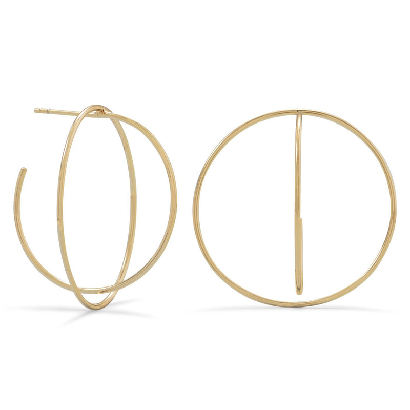 Gold 3D Bisecting Hoop Earrings - deelytes-com