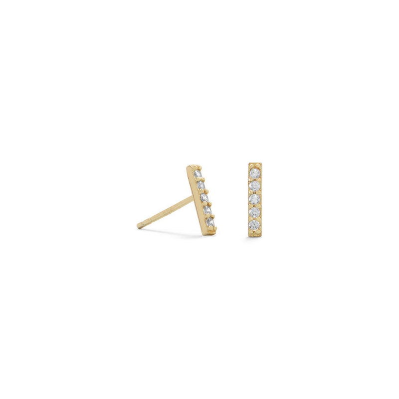 Gold Mini CZ Bar Studs - deelytes-com