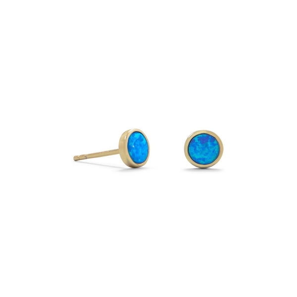 Gold Blue Opal Studs Earrings - deelytes-com