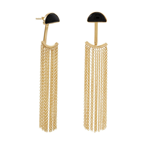 Gold Black Onyx and Fringe Front Back Earrings - deelytes-com