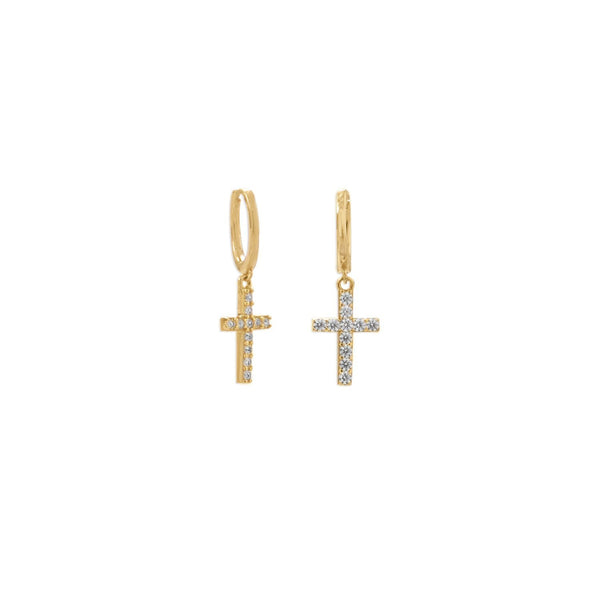 Gold Huggie Hoop Earrings with CZ Cross - deelytes-com