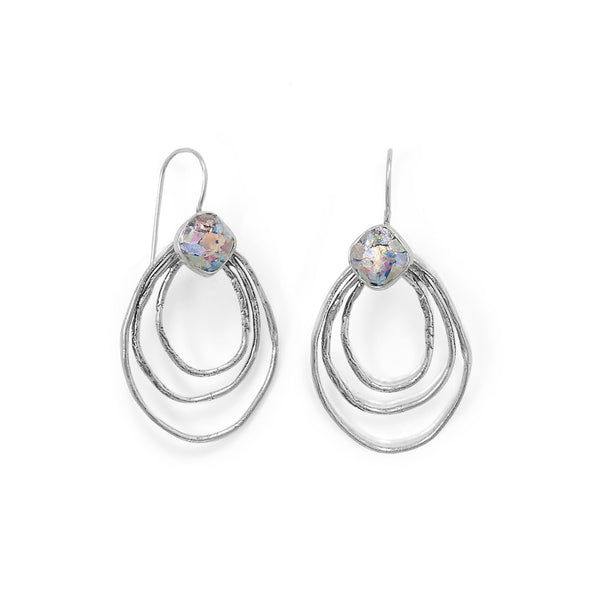 Sterling Silver Triple Outline Ancient Roman Glass Wire Earrings - deelytes-com