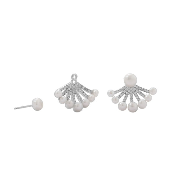 Sterling Silver CZ and Cultured Freshwater Pearl Front/Back Earrings - deelytes-com