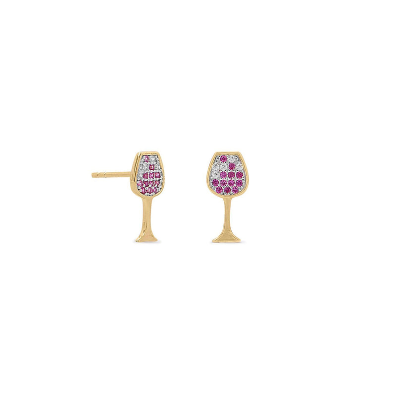 Gold CZ Red Wine-Glass Stud Earrings - deelytes-com