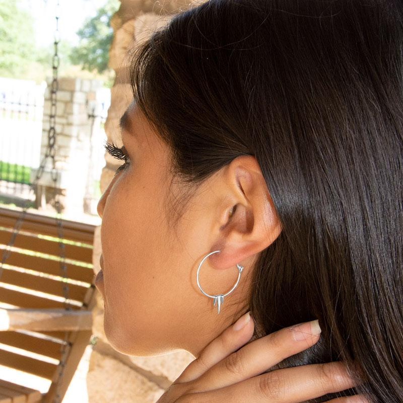 Polished Sterling Silver Wire Hoops Earrings with Spikes - deelytes-com