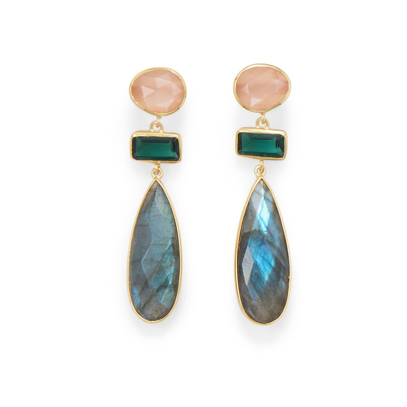 Gold Multi-Gemstone Post Earrings - deelytes-com