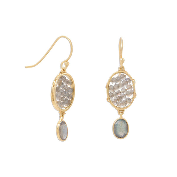 Gold Labradorite French Wire Earrings - deelytes-com