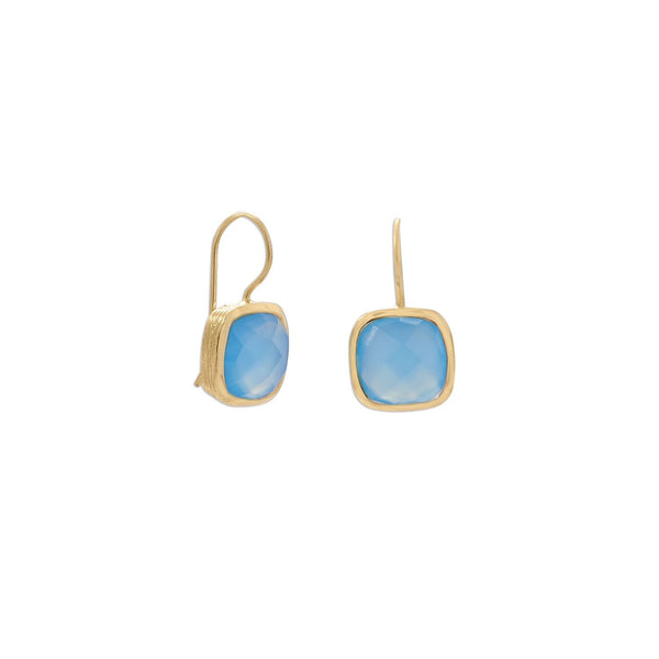 Gold Blue Chalcedony Wire Earrings - deelytes-com