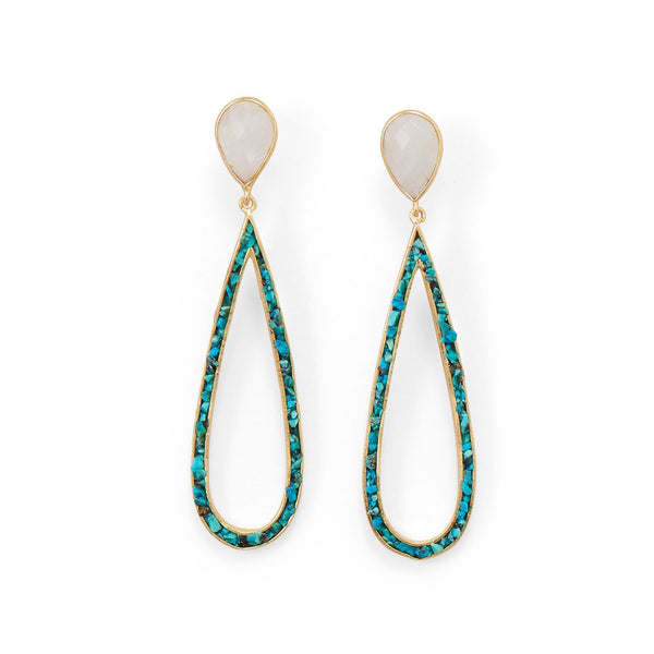 Gold Rainbow Moonstone and Turquoise Chip Post Earrings - deelytes-com
