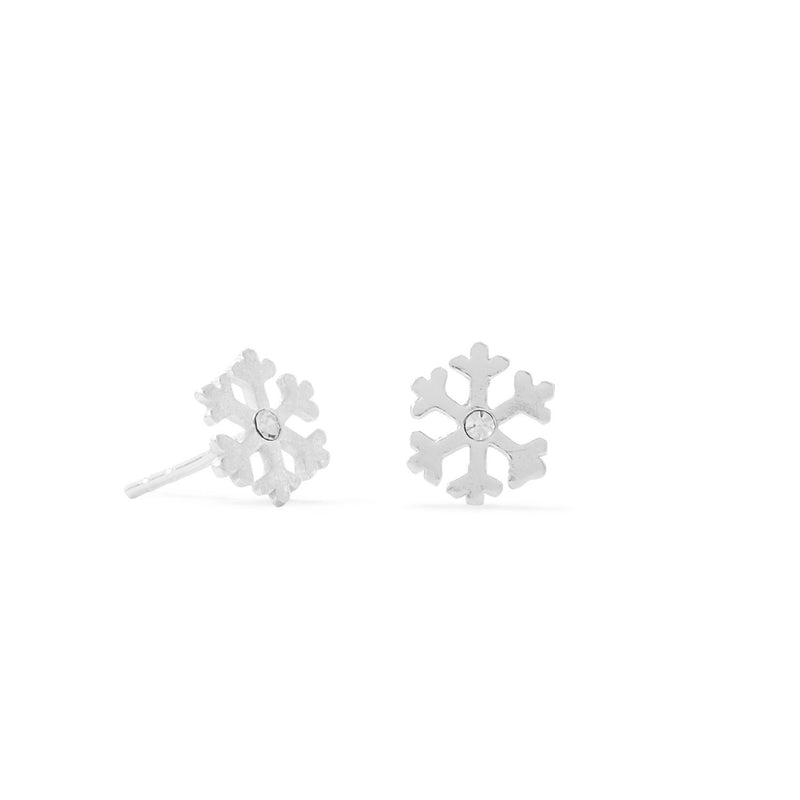 Polished Sterling Silver Snowflake  with Crystal Center Stud Earrings - deelytes-com