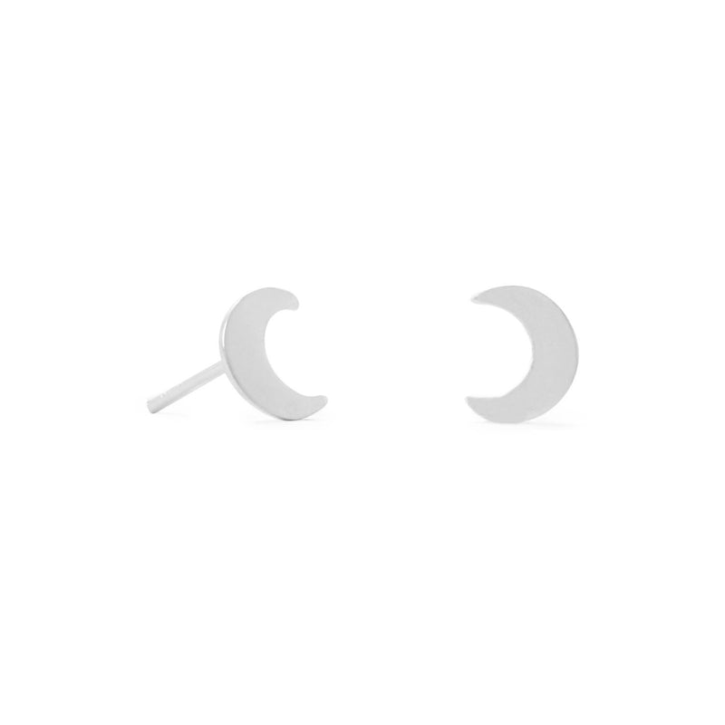 Small Polished Sterling Silver Crescent Moon Stud Earrings - deelytes-com