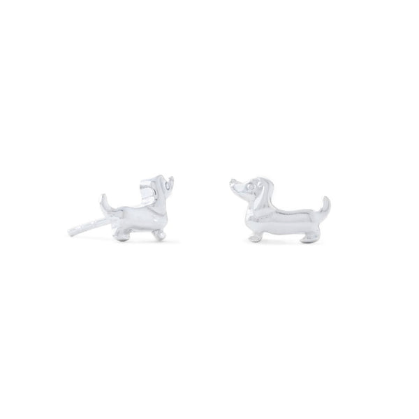 Cute Shiny Sterling Silver Dachshund Stud Earrings - deelytes-com