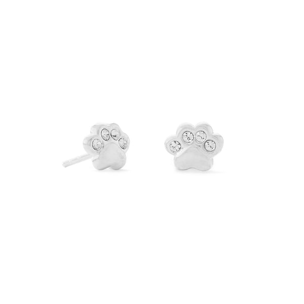 Polished Sterling Silver Crystal Paw Print Stud Earrings - deelytes-com