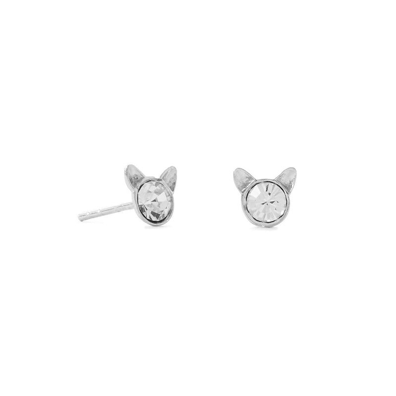 Tiny Polished Sterling Silver Crystal Cat Face Stud Earrings - deelytes-com