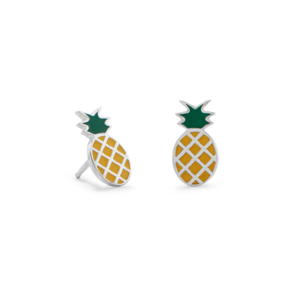 Pineapple Polished Sterling Silver Earrings - deelytes-com