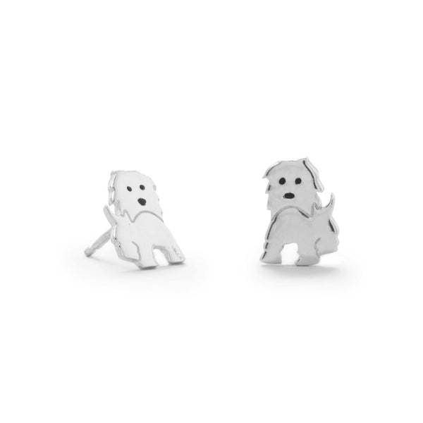 Polished Sterling Silver Puppy Earrings - deelytes-com