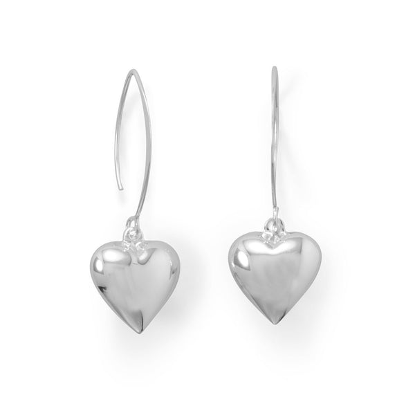 Puffy Polished Sterling Silver Heart Wire Earrings - deelytes-com
