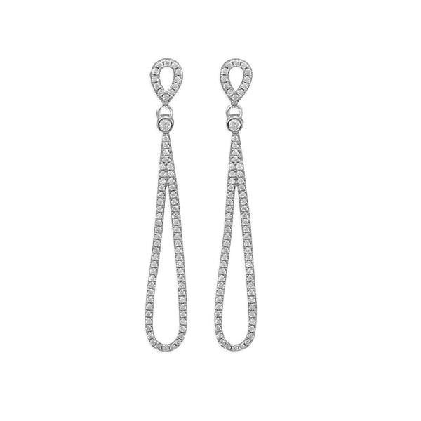 Sterling Silver CZ Pear Drop Earrings - deelytes-com