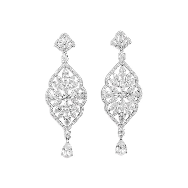 Sterling Silver Marquise CZ Dangle Earrings - deelytes-com