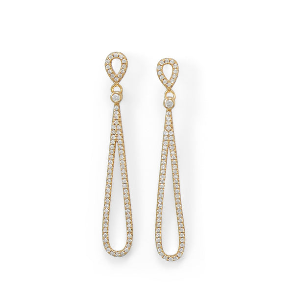 14 Karat Gold Plated CZ Pear Drop Earrings - deelytes-com