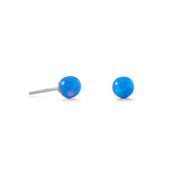 Synthetic Blue Opal Ball Stud Earrings Post 5mm Rhodium on Sterling Silver - deelytes-com