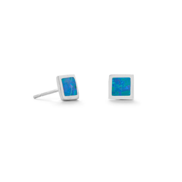 Sterling Silver Synthetic Blue Opal Square Stud Earrings Post 4mm - deelytes-com