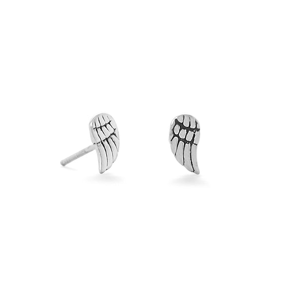 Sterling Silver Oxidized Angel Wing Stud Earrings - deelytes-com