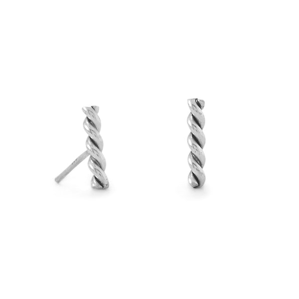 Sterling Silver Twisted Bar Earrings - deelytes-com