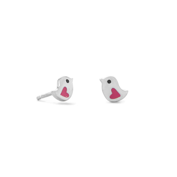 Sterling Silver Bird with Pink Enamel Heart Stud Earrings - deelytes-com