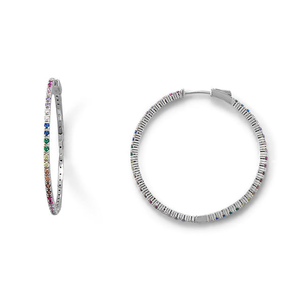 Sterling Silver Multi Color CZ 40mm Click Hoop Earrings - deelytes-com