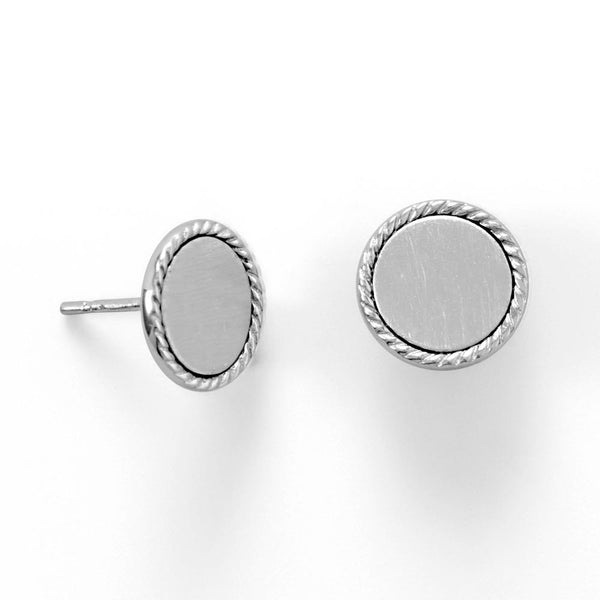 Engravable Sterling Silver Rope Edge Disk Stud Earrings - deelytes-com